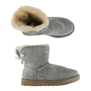UGG Dixi Flora Perf Gray Suede Bow Ankle Boots
